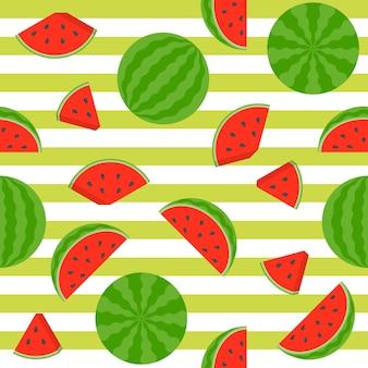 Nahtlose musterwassermelone auf streifenhintergrund
