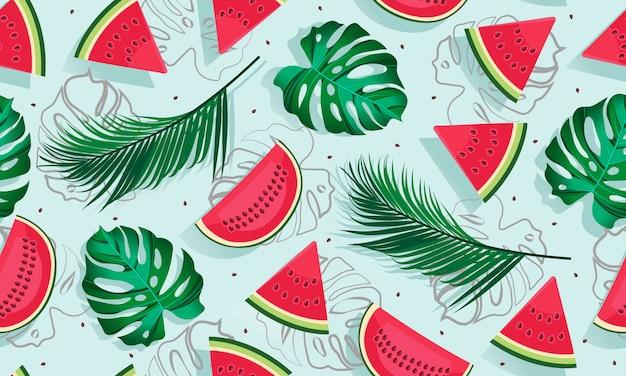 Nahtlose musterwassermelonen mit tropischem blatt, scheibe der wassermelone