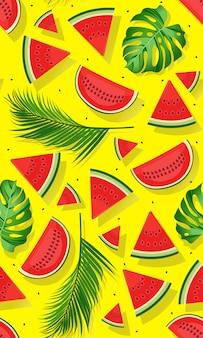 Nahtlose musterwassermelonen mit tropischem blatt