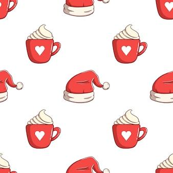 Nahtlose musterweihnachtsmütze und heißes getränk