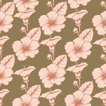 Nahtlose musterweinlese hibiscusblumen auf lokalisiertem hintergrund