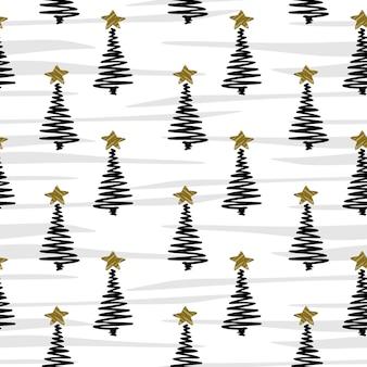 Nahtlose musterweinleseart des weihnachtsbaums