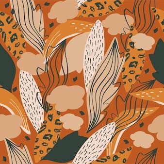 Nahtlose natürliche musterzusammenfassung verlässt tropische pflanzen auf einer braunen hintergrundhand gezeichnet
