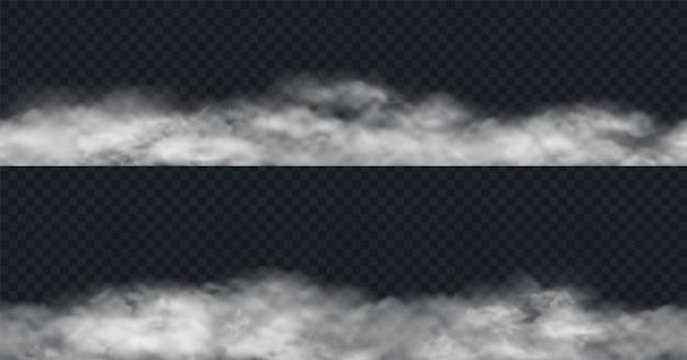 Nahtlose nebel- oder rauchgrenzen lokalisiert auf transparentem hintergrund