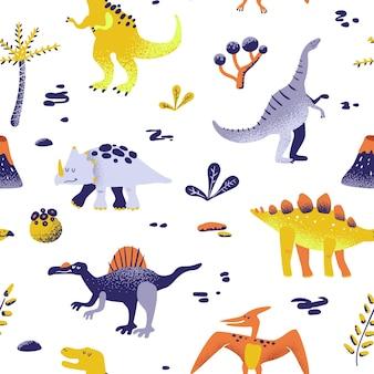 Nahtlose niedliche cartoon-dinosaurier-muster. vektor baby dino hintergrundtextur. hintergrund für textil-, stoff-, tapetendruck