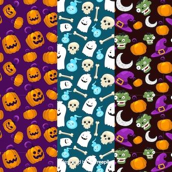 Nahtlose niedliche mustersammlung halloweens