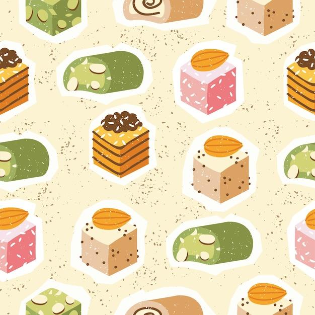 Nahtlose pattren sammlung von türkischen süßigkeiten mit kokosflocken und nüssen. auswahl an leckeren orientalischen süßigkeiten oder rahat lokum.