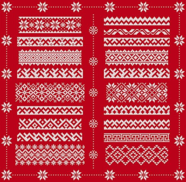 Nahtlose ränder stricken. vektor. weihnachtsrahmen auf roten mustern. gestrickter druck. fairisle ornamente. skandinavische textur.