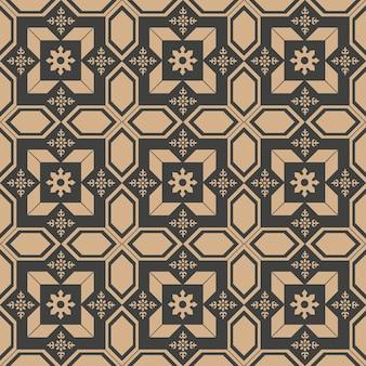 Nahtlose retro-musterhintergrund-polygongeometrie-kreuzrahmenblume des damastes.
