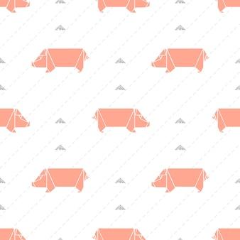 Nahtlose rosa origami schwein muster