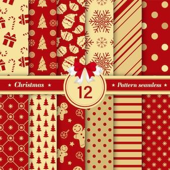 Nahtlose sammlung des musters der frohen weihnachten im rot und in der goldfarbe.