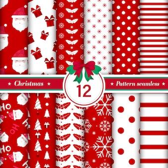Nahtlose sammlung des musters der frohen weihnachten in der roten und weißen farbe
