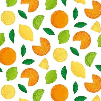 Nahtlose sammlung exotischer früchte