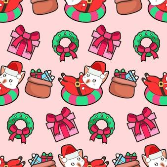 Nahtlose santa santa claus katze und geschenke im weihnachtsmuster