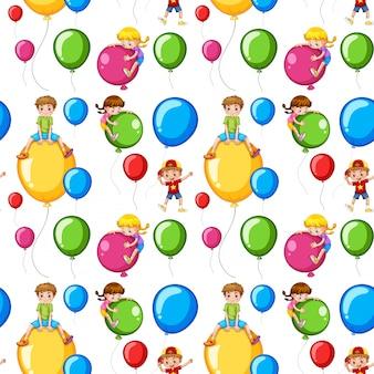 Nahtlose schablonenkinder auf bunten ballonen