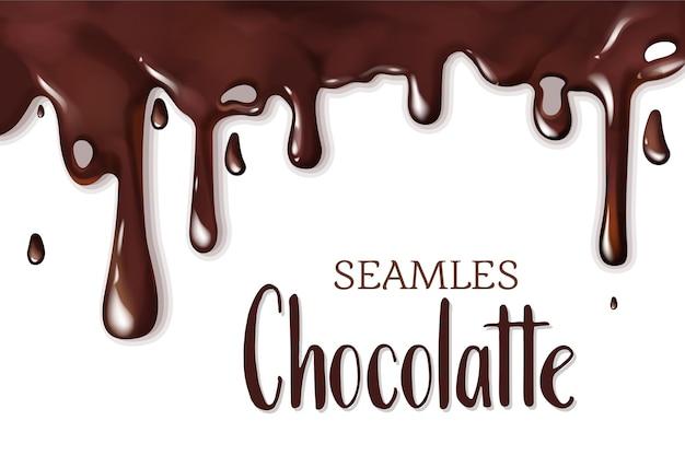 Nahtlose schmelzende flüssige schokolade tropfrahmenschablone. fließende, gießende oder auslaufende geschmolzene siruptröpfchen als gestaltungselement für süßwarenverpackung, poster, bannervektorillustration