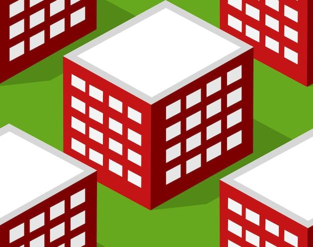 Nahtlose städtebauliche musterkarte. isometrische landschaftsstruktur von stadtgebäuden