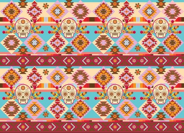 Nahtlose stammes-navajo-ziegel-muster im indischen stil