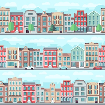 Nahtlose straße der karikatur mit alten wohngebäuden, bäumen und autos vector satz. wohnungsbaustadtbild, architekturlandschaftsillustration