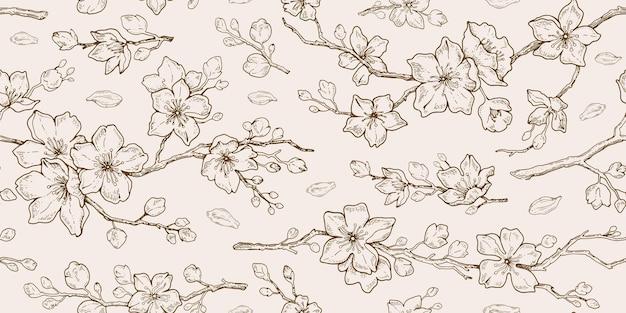 Nahtlose strichzeichnungen des sakura-blütenmusters