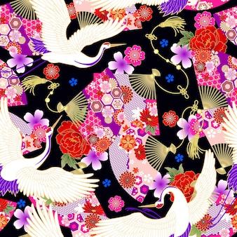 Nahtlose tapete mit fächern im asiatischen stil für die gestaltung von sommerkleiderstoffen