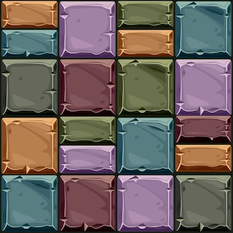 Nahtlose textur aus farbigem quadratischem stein, hintergrundsteinwandfliesen. vektorillustration für die benutzeroberfläche des spielelements