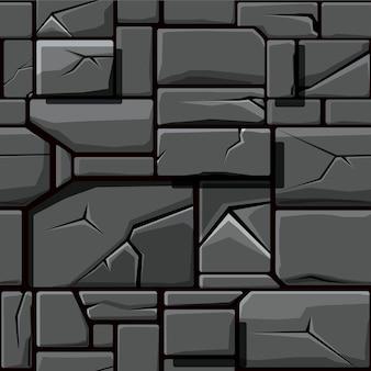 Nahtlose textur aus grauem geometrischem stein, hintergrundsteinwandfliesen. vektorillustration für die benutzeroberfläche des spielelements
