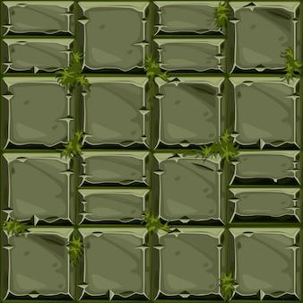 Nahtlose textur aus grünem stein auf gras, hintergrundsteinwandfliesen. vektorillustration für die benutzeroberfläche des spielelements
