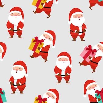 Nahtlose textur des glücklichen weihnachtsmannmusters