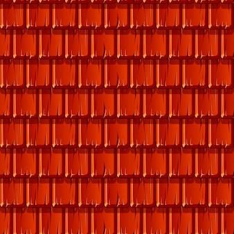 Nahtlose textur des roten holzdaches in einer reihe. muster eines kaputten daches.
