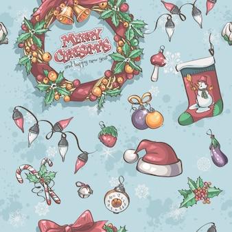 Nahtlose textur mit weihnachtskranz, girlanden und spielzeug