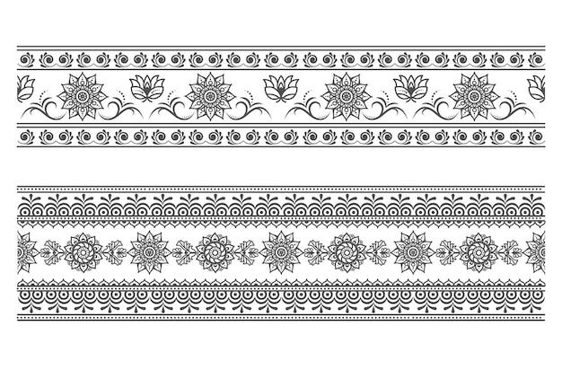 Nahtlose traditionelle grenze mit floralen elementen