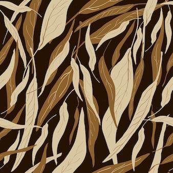 Nahtlose trendige naturmuster gartenarbeit abstrakte blumenblätter formen schwarzen hintergrund