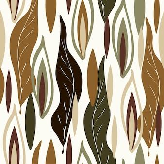 Nahtlose trendige naturmuster im garten arbeiten abstrakte blumenblätter formen weißen hintergrund