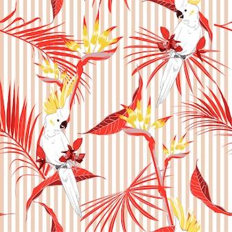 Nahtlose tropische blätter mit macawvogel auf streifen