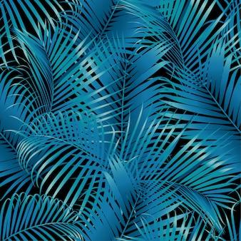 Nahtlose tropische mustergrün-palmblätter