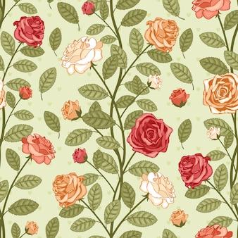 Nahtlose vektor vintage muster tapete mit rosen. viktorianischer blumenstrauß der bunten blumen auf grünem hintergrund