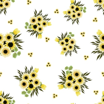 Nahtlose vektormuster blumensträuße bunte frühlingsblumenarrangements