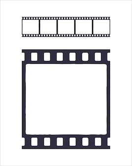 Nahtlose vorlage der silhouette des kino- oder fotostreifens einfaches schwarzes retro-muster