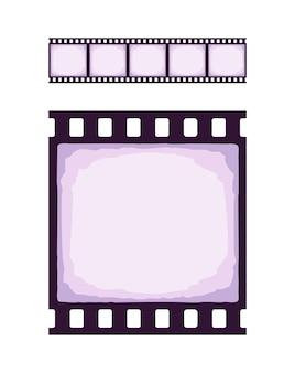Nahtlose vorlage des kino- oder fotostreifens realistisches farbiges retro-muster des filmstreifens für pinsel