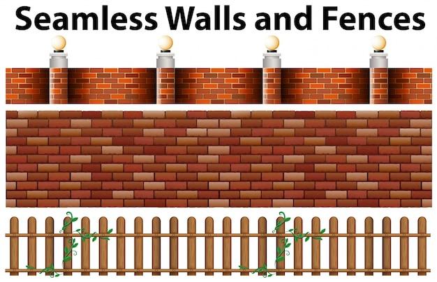 Nahtlose wände und zäune design