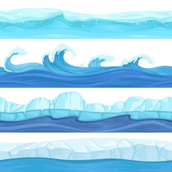 Nahtlose wasserwellen. flüssige und eisoberflächenozean- und -flussbeschaffenheitshintergründe für 2d plattformspiele
