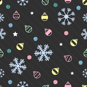Nahtlose weihnachten muster auf grauem hintergrund mit schnee, sterne, ball und bunten glitzer punkt