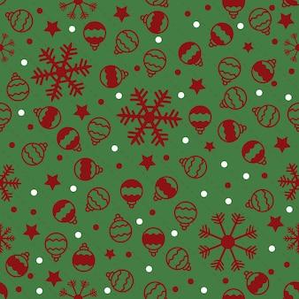 Nahtlose weihnachten muster auf grünem hintergrund mit rotem schnee, stern und ball
