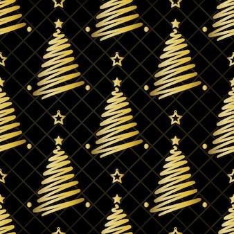 Nahtlose weihnachten muster auf schwarzem hintergrund mit gold kiefer und stern