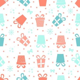 Nahtlose weihnachten muster hintergrund mit bunten geschenk und schneeflocke