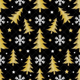 Nahtlose weihnachten nacht muster auf schwarzem hintergrund mit gold kiefer und schneeflocke glitter