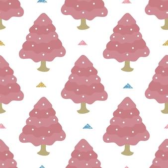 Nahtlose weihnachtsjahreszeit mit pastellfunkelnkiefer-musterhintergrund des handabgehobenen betrages