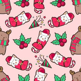 Nahtlose weihnachtsmann-katze und rentier mit weihnachtstagsmuster