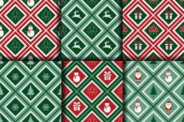 Nahtlose weihnachtsmustersammlung auf geometrischem hintergrund